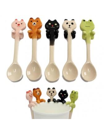 Cute Cartoon Animal Ceramic Pendant Coffee Spoon Milk Tea Soup Spoon Tableware Set