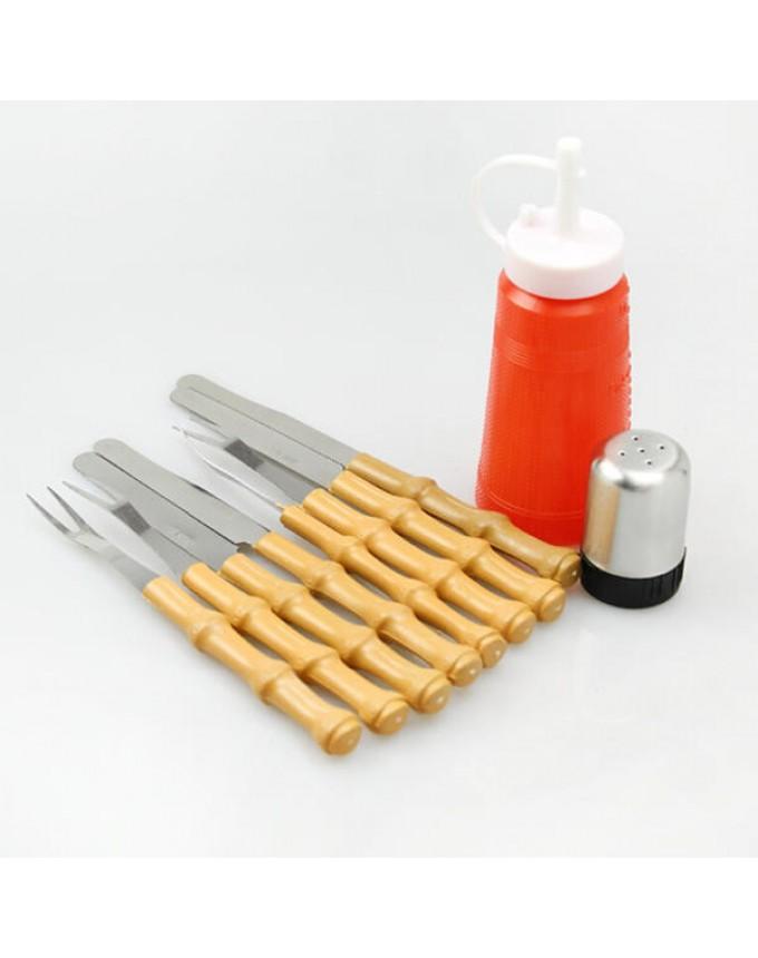 10 Piece BBQ Tool Set BBQ Fork Knife Spice Jar Jam Jar BBQ Set