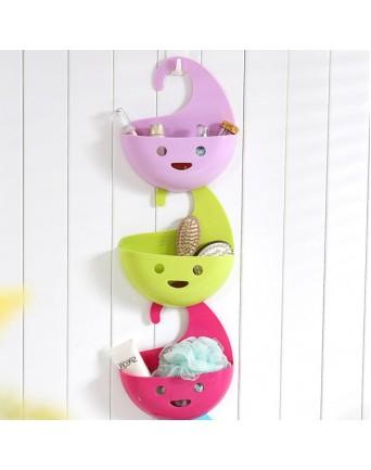 Smiling face creative home multifunctional hanging basket kitchen bathroom organizer