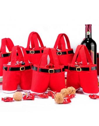 1 Santa suspenders trousers decorated Christmas gift bag