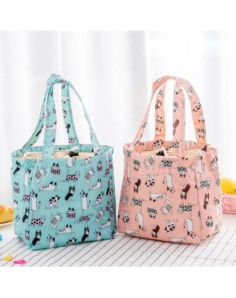 Cute cartoon drawstring lunch bag Large capacity cosmetic bag Insulated bag Cloth animal design beach bag